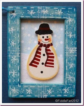 Framed Snowman tag