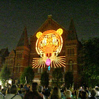 Charlie Harper tiger projected onto facade of Music Hall in Washington Park in Cincinnati, LumenoCity 2014, Cincinnati Symphony Orchestra, August 1, 2014