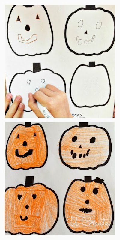 one sheet of paper with blank pumpkin faces = hours of FUN!