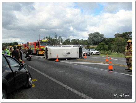 How did this happen on a straight stretch of road when both car and camper were travelling in opposite directions?
