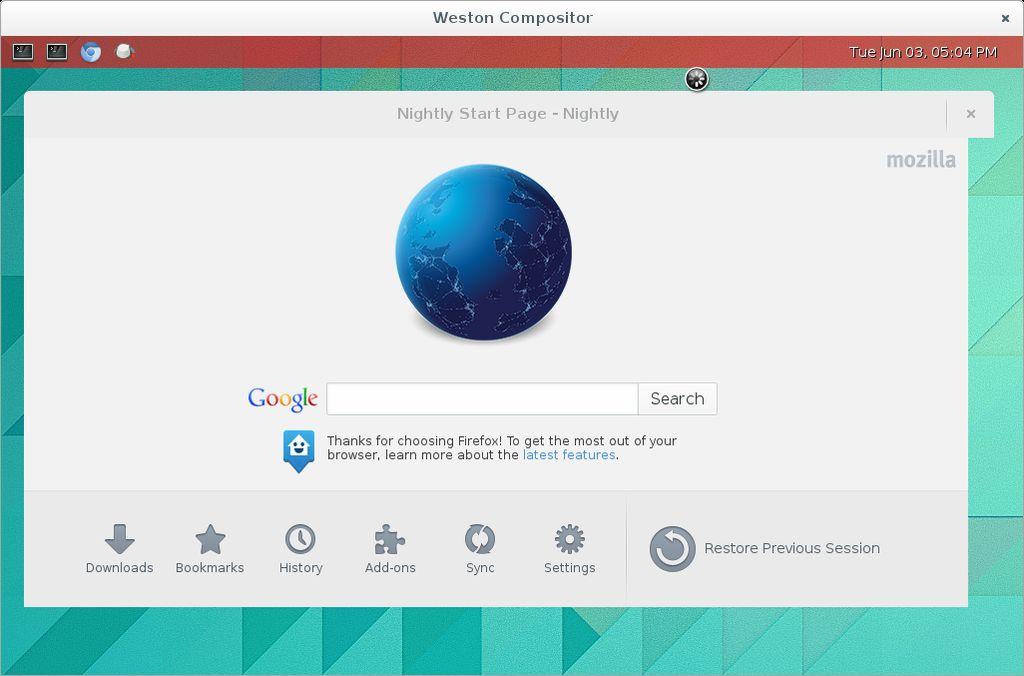Mozilla Firefox in Wayland