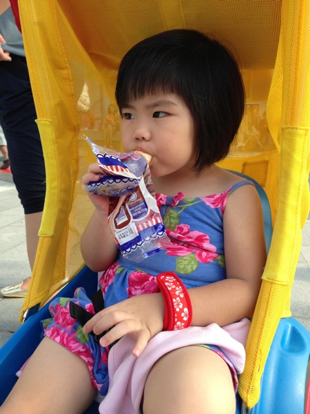 Yining having a bite before leaving Legoland