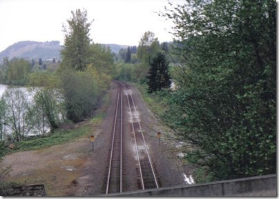View of the BNSF Main Line from the Weyerhaeuser Woods Railroad (WTCX) at Rocky Point, Washington on May 17, 2005