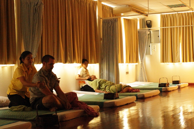 Getting a traditional Thai Massage at Prachin Buri, Thailand