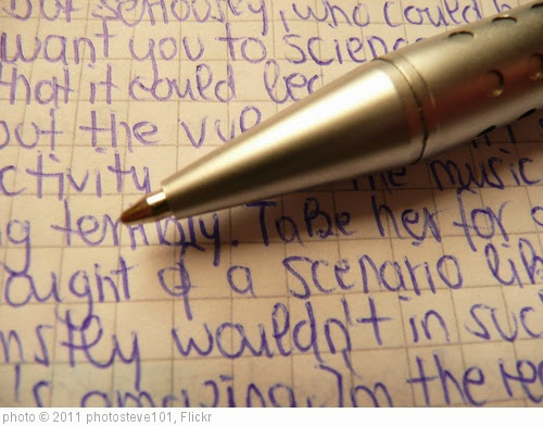 'Metallic ballpen tips / biro Ballpen Ballpoint pen in silver with handwritten random blue text on quad-ruled paper' photo (c) 2011, photosteve101 - license: https://creativecommons.org/licenses/by/2.0/