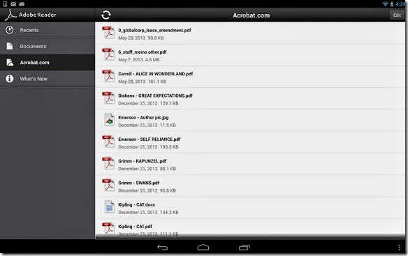 adobe reader android interface