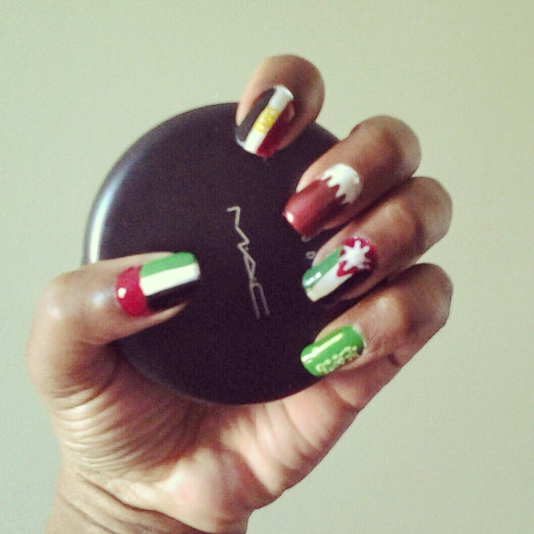 BeautyStarNails: Arab Flags Nail Art Design.