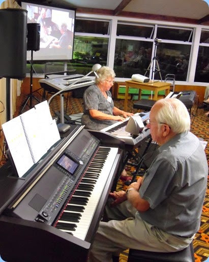 Barbara and Rob Powell played some solo pieces and some duets. Here Barbara is playing solo on their brand new Yamaha Tyros 5 (76 note version). Photo Gordon Sutherland