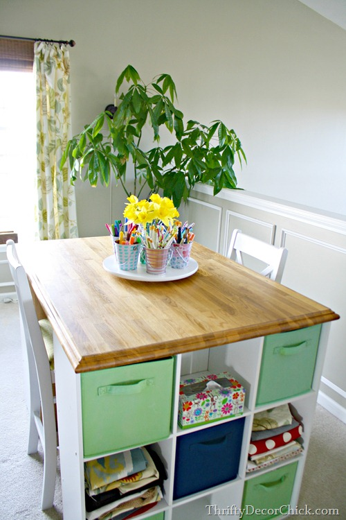 wood top on craft table