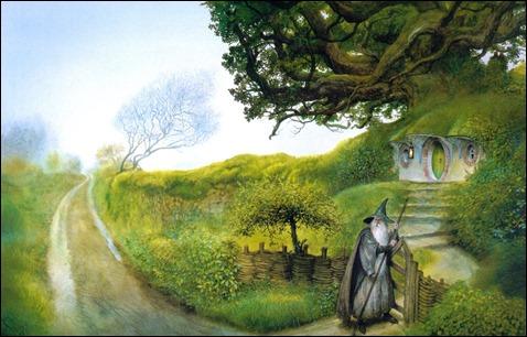 gandalf comes to hobbiton Hobbit de John Howe