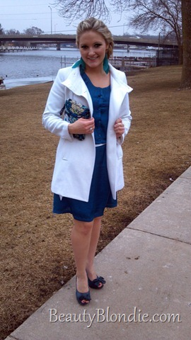 Teal Dress, Vera Purse, Teal Feather Earings with a White Coat and Teal Heals