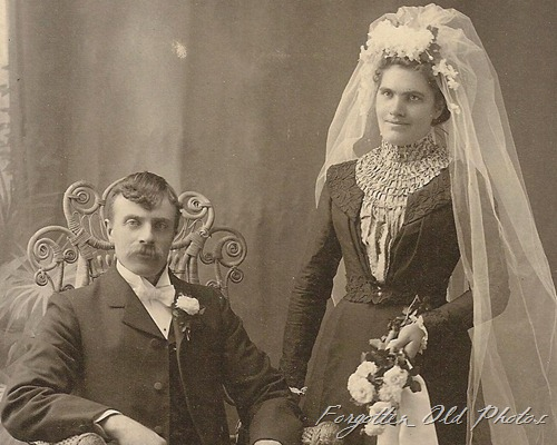 Cabinet Card Wedding Fur rug big veil DL Antiques