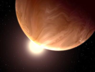 ilustração de um exoplaneta nublado