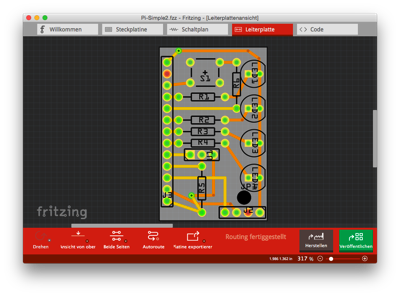Fritzing editor with PCB layout