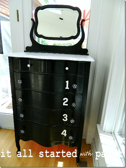 black_and_white_painted_dresser_with_numbers_and_diamond_drawer_pulls