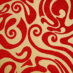 Tkanina obiciowa w stylu lat 60-tych, 70-tych. Czerwona.
