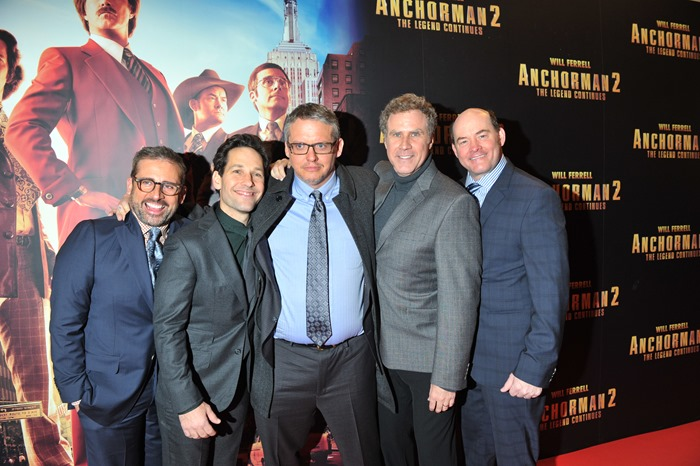 Dublin – 9th December 2013: Steve Carrell, Paul Rudd, Adam McKay, Will Ferrell and David Koechner attends the Dublin Premiere of Anchorman 2 – Credit: Clodagh Kilcoyne for Paramount Pictures International via Getty Images