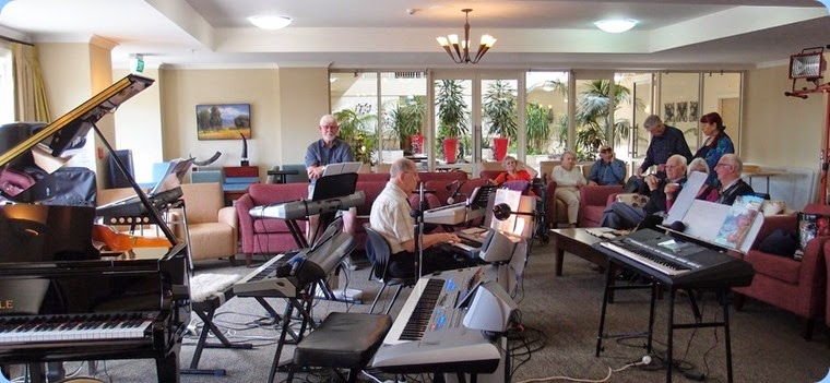 Quite an array of keyboards! Photo courtesy of Dennis Lyons