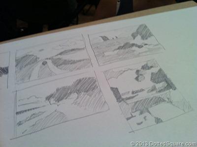 Sketchings during drop-by drawing