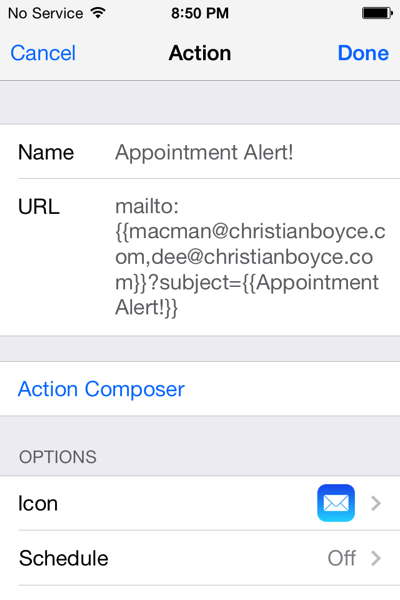 Launch Center Pro email action filled in