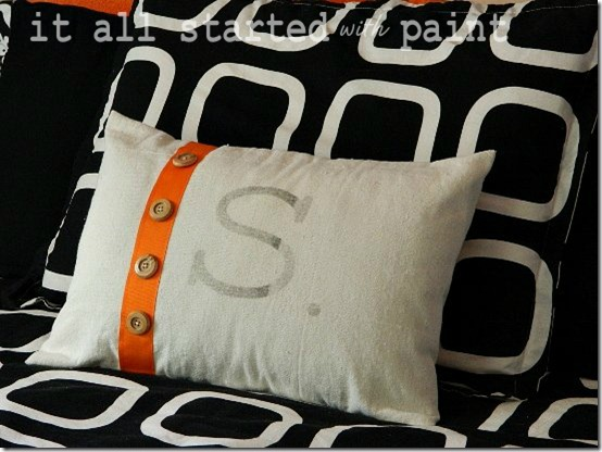 Teen Room orange gray black monogrammed drop cloth pillow 3