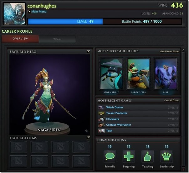 Dota 2 Player Profile