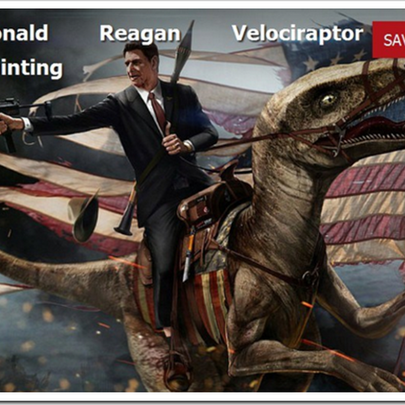 "Something every Reagan fan needs... ""Ronald Reagan Velociraptor Painting"""
