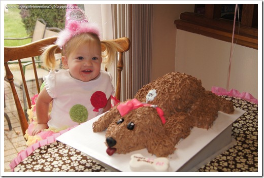 Dog Cake for a Girl themed Dog Birthday Party