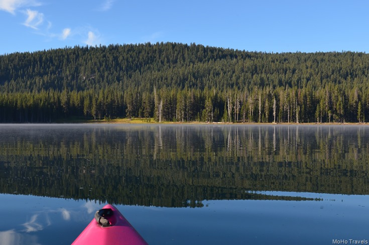 toward the meadow on a perfectly still morning on Medicine Lake