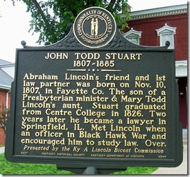 John Todd Stuart marker in Danville, Kentucky at Centre College (Side 1)