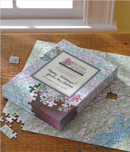 Another great gift idea. Hometown Puzzle is a custom made puzzle centered on any US Postal address.  It's made with a real US Geological Survey map showing main roads, buildings, contour lines and vegetation.