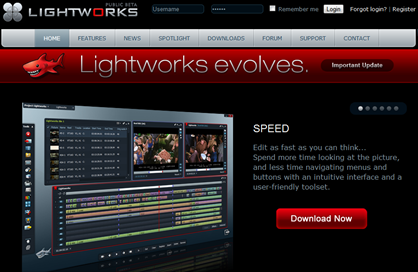Screenshot da página inicial dos produtores do Lightworks