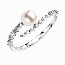 Round Akoya Cultured Pearl and Diamond Ring