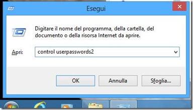 Windows 8 comando per accedere alle impostazioni Account utente