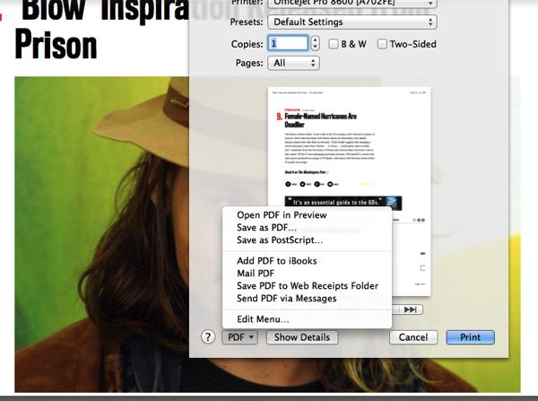 PDF menu options for