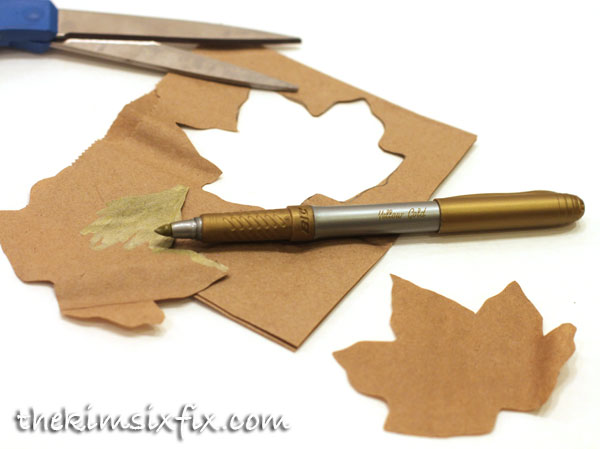 Coloring brown paper leaf gold