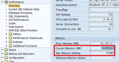 SAP SQL Server memory settings