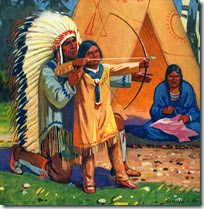 native-american-man-teaching-son-to-use-bow-and-arrow
