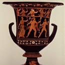 Crátera de figuras rojas, pintor de Asteas - ca. 340 a.C. - Paestum Museum  (cara B- Dionysos con satiros y menades
