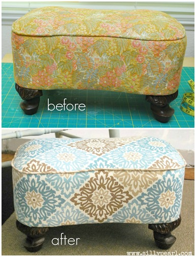 DIY Uphostered Footstool Before and After - The Silly Pearl