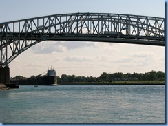 3652 Ontario Sarnia - Blue Water Bridge over St Clair River - John D. Leitch lake freighter