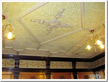 The ornate panels and ceiling of the Royal station at Ballater.