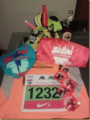 Kit del piccolo maratoneta Fabio Rainato