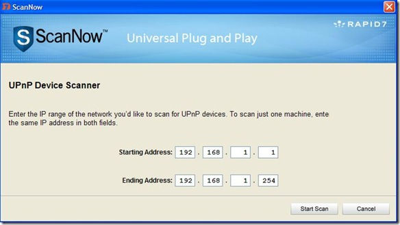 ScanNowUPnP intervallo di IP da scansionare