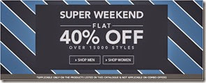 Super Weekend Get Flat 40% or More off on clothings at Jabong