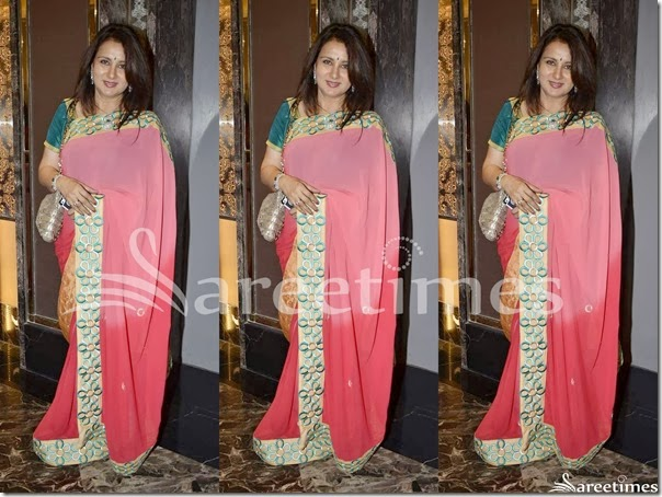 Poonam_Dhillon_Pink_Plain_Saree