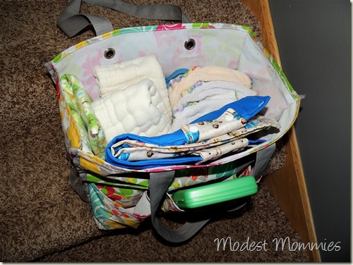 Cloth Diapering - Diaper Bag Packed