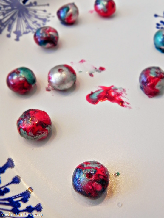 nail polish marbled beads