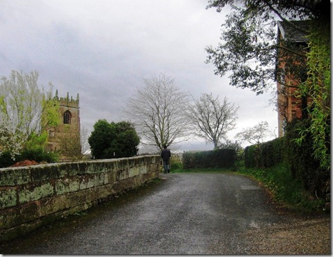 Walkingup the lane to Marbury church