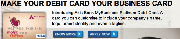 Axis bank personalised business debit card